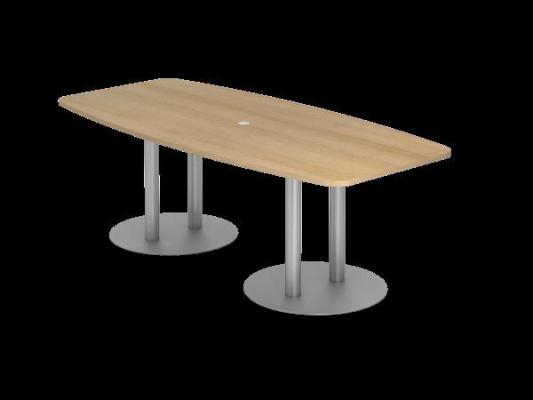 Konferenztisch KT22S 220x105cm Eiche Säulenfuße Gestellfarbe: Silber