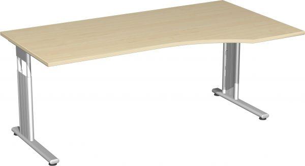 PC-Schreibtisch rechts, höhenverstellbar, 180x100cm, Ahorn / Silber