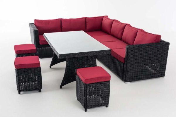 Sitzgruppe Sorano 5mm Rubinrot, schwarz