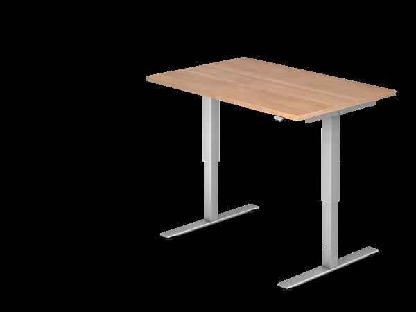 Sitz-Steh-Schreibtisch elektrisch XMST12 120x80cm Nussbaum Gestellfarbe: Silber