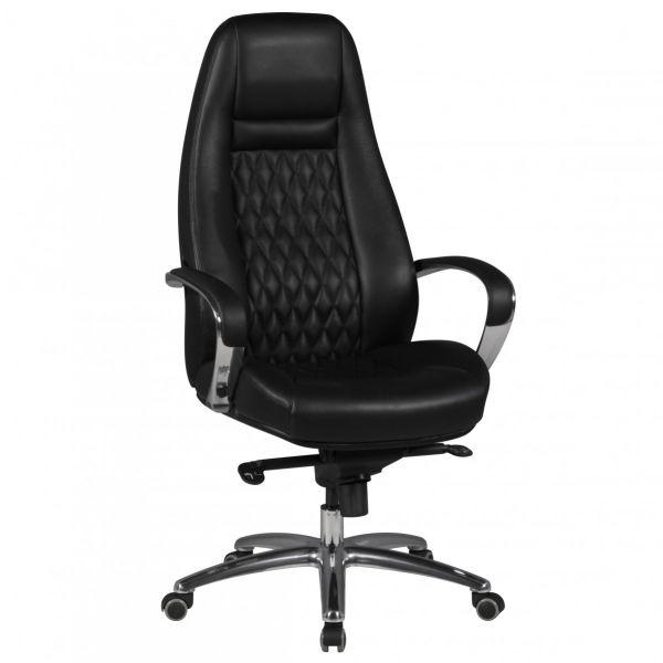 AUSTIN Schreibtischstuhl Chefsessel hohe Rückenlehne, Echtleder Schwarz