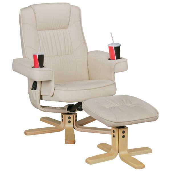 COMFORT DUO Fernsehsessel, TV-Sessel aus Kunstleder mit Getränkehalter, Beige