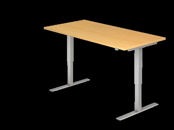Sitz-Steh-Schreibtisch elektrisch 160x80cm Buche Gestellfarbe: Silber