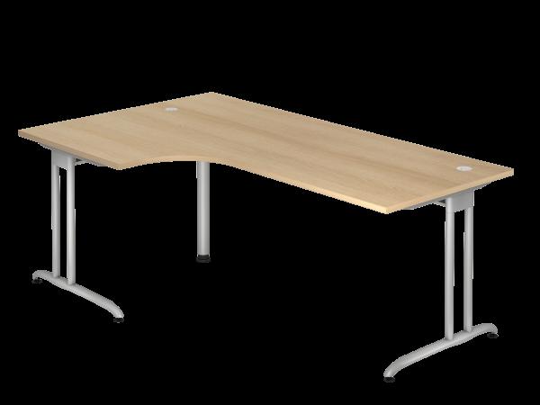Winkeltisch C-Fuß 200x120cm 90° Eiche Gestellfarbe: Silber
