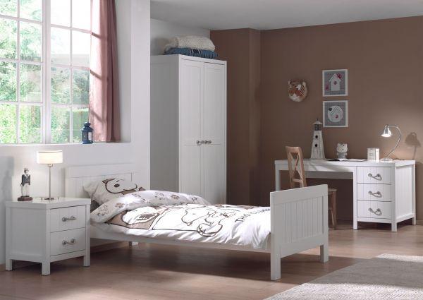 Set Lewis best. aus: Einzelbett, Nachtkonsole, Kleiderschrank 2-trg. und Schreibtisch, Weiß