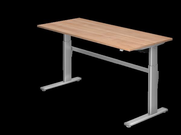 Sitz-Steh-Schreibtisch elektrisch XM19 180x80cm Nussbaum Gestellfarbe: Silber