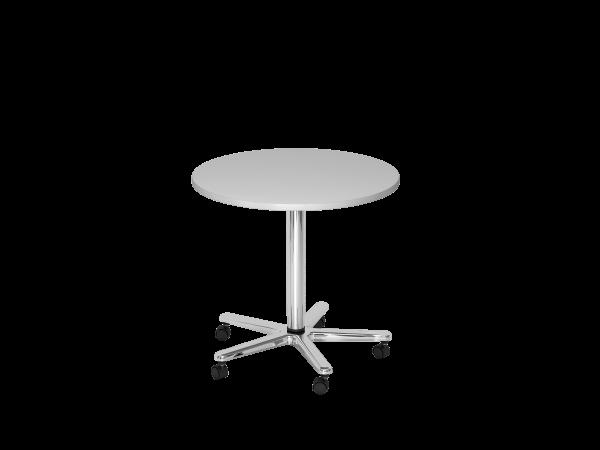 Säulenhubtisch rund, 80cm, Grau / Chrom