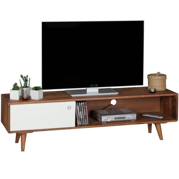 TV Lowboard REPA Sheesham Massivholz mit 1 Tür 140 x 40 x 35 cm weiß