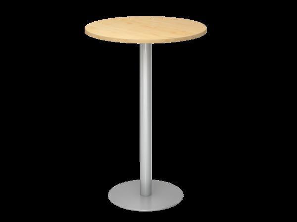 Stehtisch STH08 rund, 80cm, Ahorn / Silber