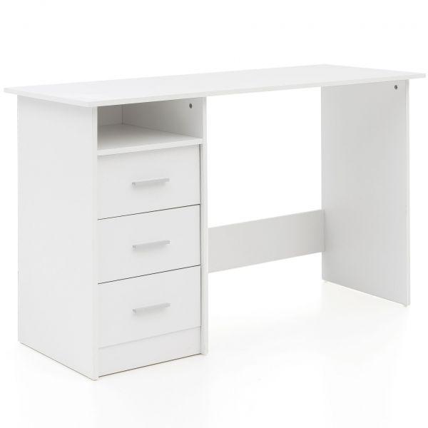Design Schreibtisch mit Ablage Regal Weiß Matt 123 x 77 x 50 cm