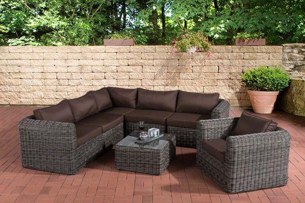 Gartengarnitur Marbella Terrabraun 5mm, grau-meliert | Garten > Gartenmöbel > Gartenmöbel-Set | CLP