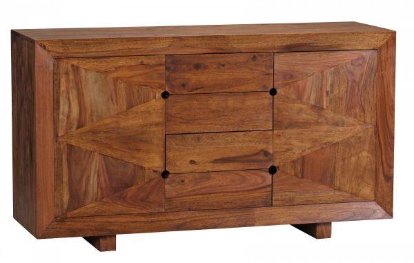 Sheesham Sideboard, 4 Schubladen 2 Türen, Massivholz, 145 cm