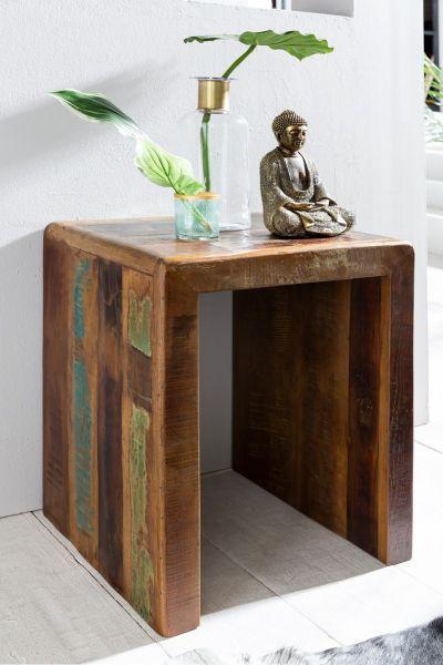 Beistelltisch KALKUTTA 45 x 40 x 55 cm Massiv-Holz Mango Recycling Shabby | Kleiner Wohnzimmertisch