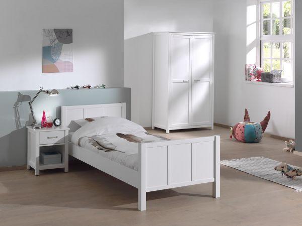 Stella Set best. aus Bett, Kleiderschrank 2-trg. & Nachttisch, weiß