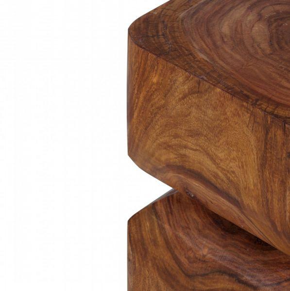 Sheesham Beistelltisch, Massiv-Holz, Dunkel-Braun, 30 x 30 cm