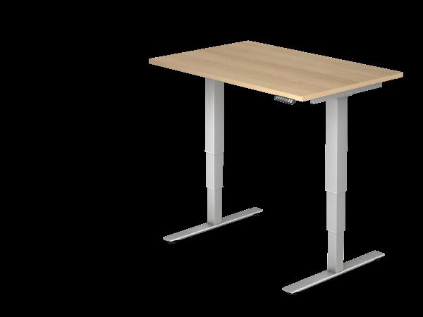 Sitz-Steh-Schreibtisch elektrisch XDSM12 120x80cm Eiche Gestellfarbe: Silber