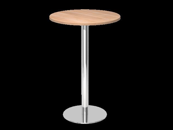Stehtisch STH08 rund, 80cm, Nussbaum / Chrom