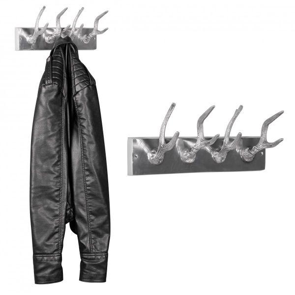 Garderobenhaken Hirschhörner, 4er Set, aus Aluminium, Silber