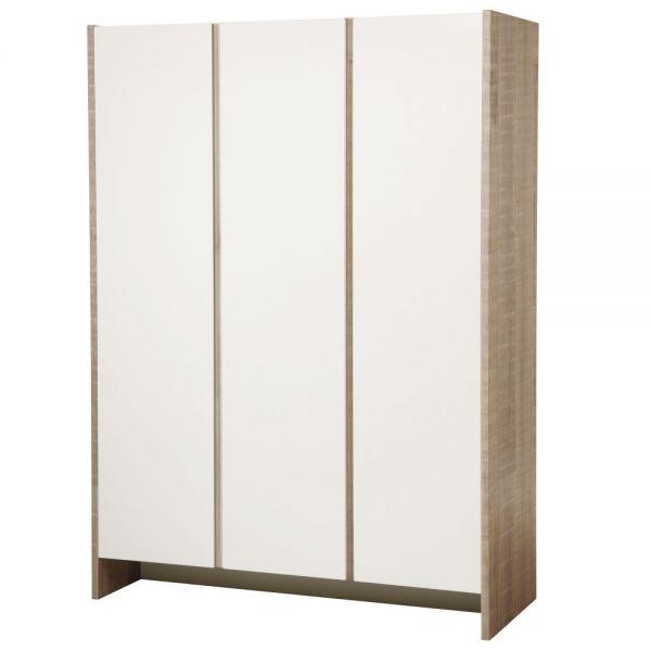 Kleiderschrank 'Maxima' 3-türig Eiche/ weiß