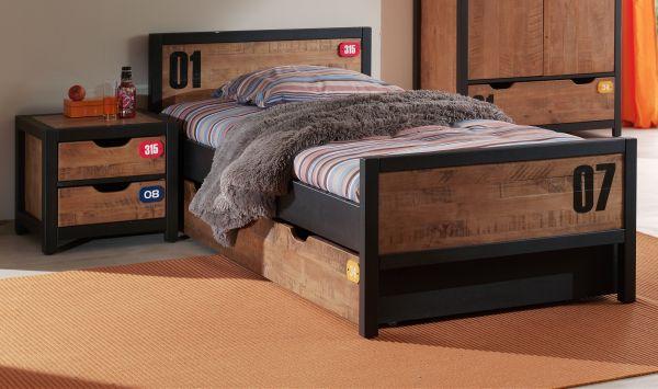 Set Alex best. aus Nachtkonsole, Einzelbett 90x200 und Bettschublade, Kiefer gebürstet, cognac