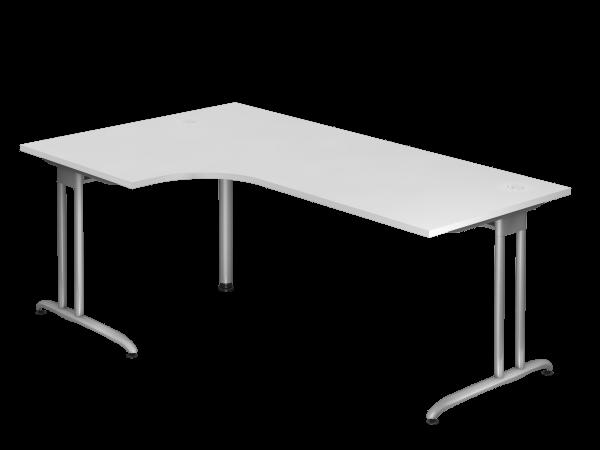 Winkeltisch BS82 C-Fuß 200x120cm 90° Weiß Gestellfarbe: Silber