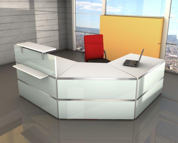 Empfangstresen Rezeption Winkel Atlantis Weiß / Glas 250x250cm