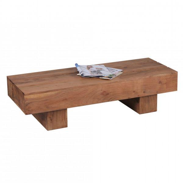 Couchtisch, Wohnzimmer-Tisch, Massiv-Holz, Akazie, Dunkel-Braun, 120cm breit