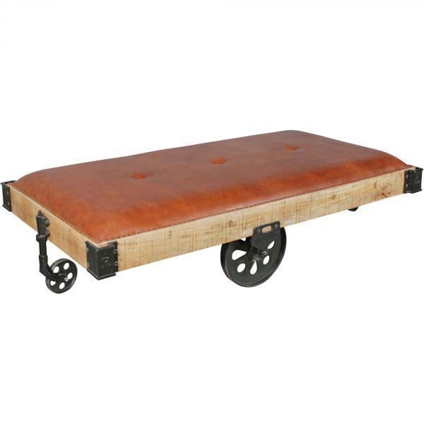 Tisch auf Rädern WL5.560 186 x 50 x 101 cm Holztisch Mango Massiv