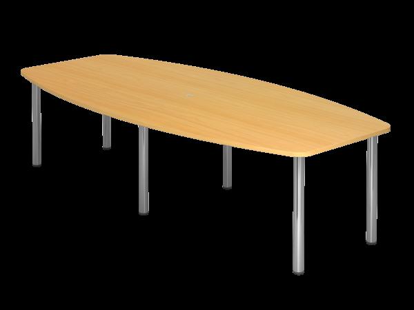 Konferenztisch KT28C 280x130cm Buche 6-Fuß Gestellfarbe: Chrom