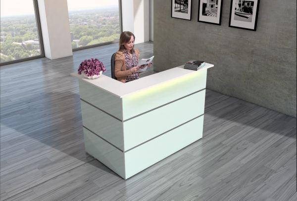Empfangstheke Atlantis Weiß Ecktheke mit Rollcontainer inkl. LED