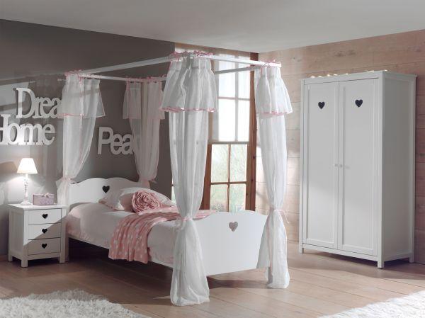 Set Amori best. aus: Himmelbett, Textil-Vorhang, Nachtkonsole und Kleiderschrank 2-trg., Weiß