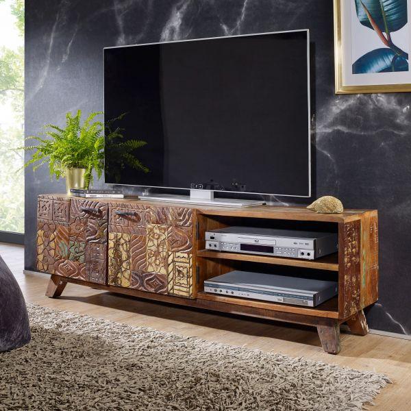 Design HiFi Lowboard CARVED Massivholz Vintage TV Kommode 140 x 46 x 40cm