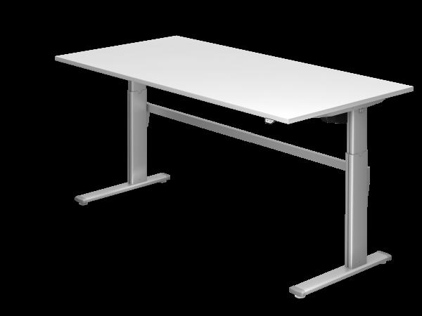 Sitz-Steh-Schreibtisch elektrisch XM2E 200x100cm Weiß Gestellfarbe: Silber
