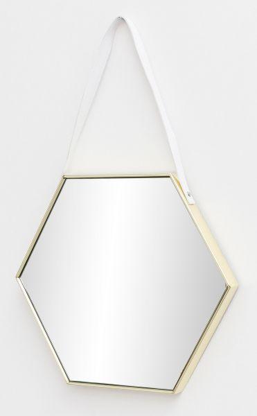Wandspiegel Spiegel mit Rahmen Flurspiegel Sechseckig Gold 48x57x4 cm