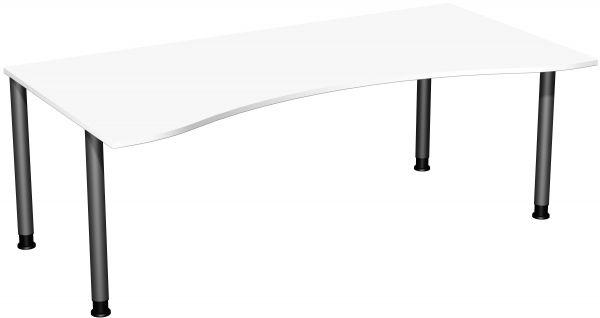 Schreibtisch, höhenverstellbar, 200x100cm, Weiß / Anthrazit