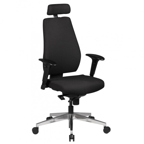 DARIUS Bürostuhl Drehstuhl mit Kopfstütze, Schwarz