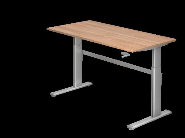 Sitz-Steh-Schreibtisch Kurbel XK16 160x80cm Nussbaum Gestellfarbe: Silber