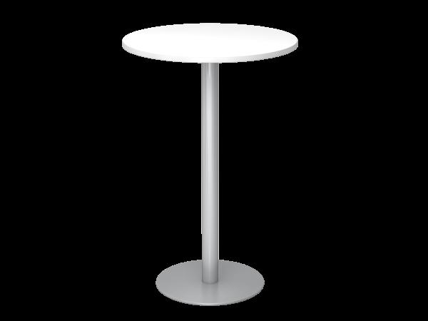 Stehtisch STH08 rund, 80cm, Weiß / Silber