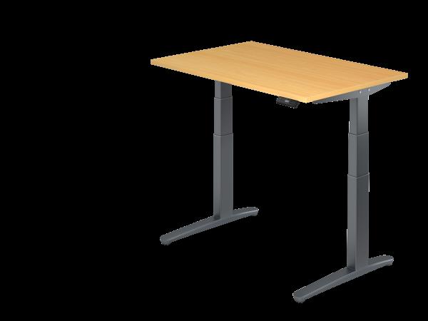 Sitz-Steh-Schreibtisch elektrisch 120x80cm Buche Graphit