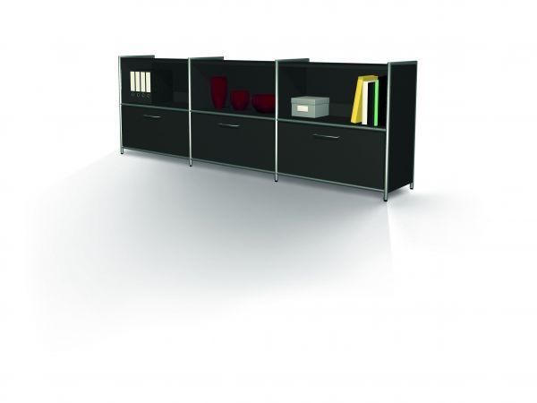 Großes Sideboard Artline, 236x38x78 cm, Anthrazit
