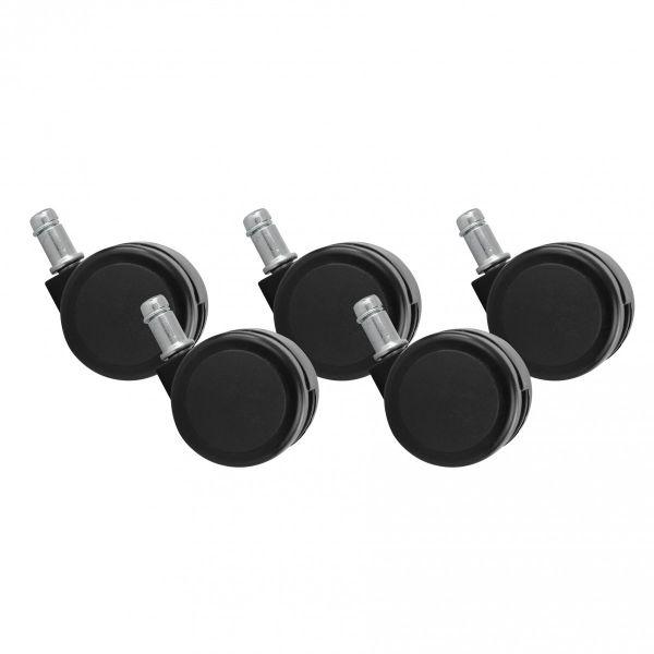 5er Set Rollen für Bürostuhl Schwarz Stift 11mm/Durchmesser 50mm
