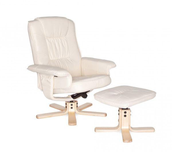 COMFORT TV Fernsehsessel, Relax-Sessel aus Kunstleder, drehbar, Creme