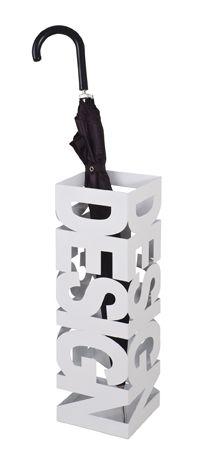 Schirmständer, weiß, Stahl, 16x16x48cm