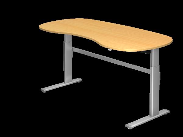 Sitz-Steh-Nierentisch elektrisch 200x100cm Buche Gestellfarbe: Silber