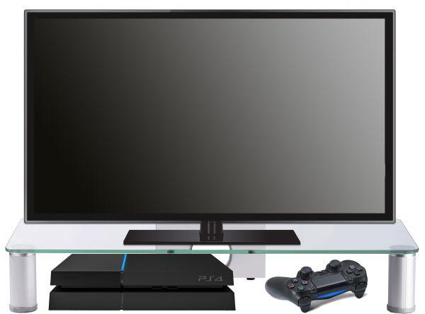 Glas-TV-Aufsatz Pocasa - Silber | Wohnzimmer > TV-HiFi-Möbel | VCM-Möbel