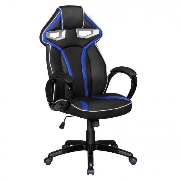 GameStar Bürostuhl Schreibtischstuhl Leder-Optik Schwarz Blau