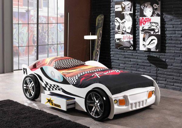 Kinderbett Autobett Turbo Racing Weiß