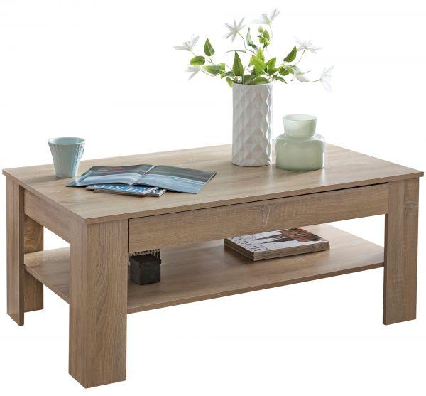 Design Couchtisch CONNIE 110x48x65 cm mit Stauraum & Ablage Holz Sonoma