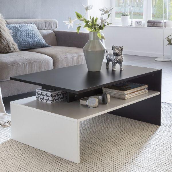 MURPHY Wohnzimmertisch 90 x 43 x 60 cm mit Ablage Holz Schwarz / Weiß