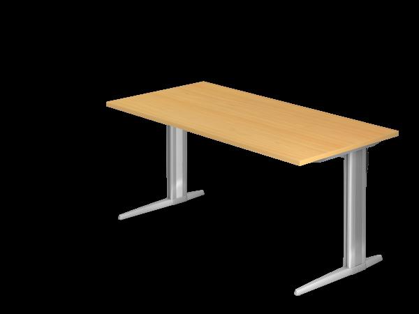 Schreibtisch XS16 C-Fuß 160x80cm Buche Gestellfarbe: Silber